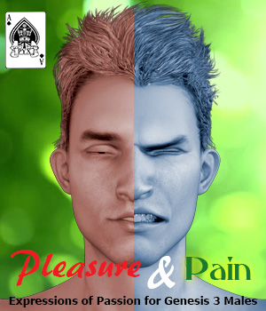 Pleasure and Pain - Expressions for Genesis 3 Male 3D Figure Assets AcePyx