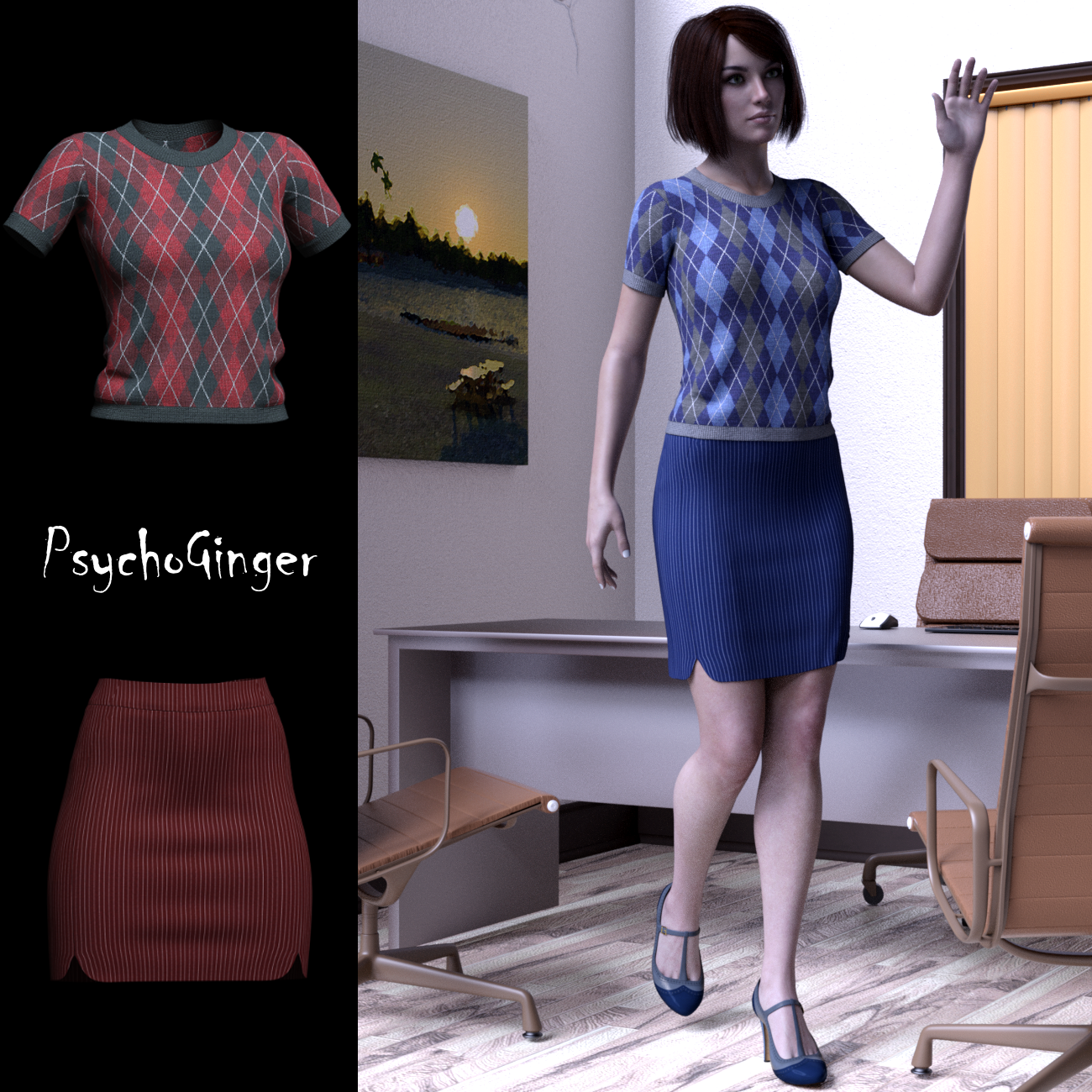 dForce 9 to 5 outfit for G8F by PsychoGinger