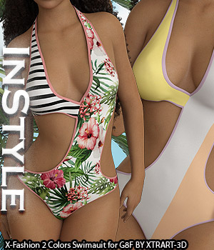 InStyle - X-Fashion 2Colors Swimsuit for Genesis 8 Females 3D Figure Assets -Valkyrie-