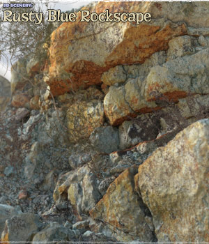 3D Scenery: Rusty Blue RockScape for Poser and Daz Studio