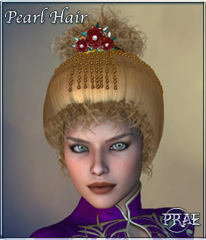 Prae-Pearl Hair for V4 Poser 3D Figure Assets prae