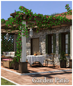 Garden Patio for Poser and DAZ Studio 3D Models GrayCloudDesign