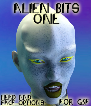 Alien Bits One: Head and Face Options for G3F 3D Figure Assets CMKook-24601