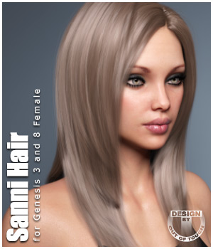 Sanni Hair for Genesis 3 and 8 Females by outoftouch