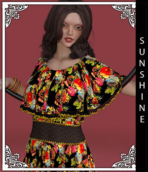 Sunshine for Fiona Dress 3D Figure Assets sandra_bonello