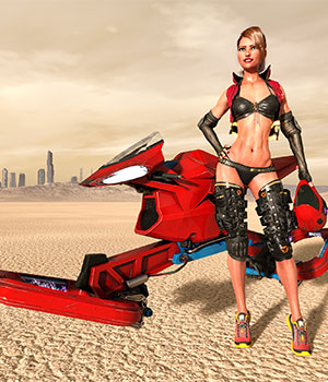 Zel Speeder Bike and Zel Helmet G3 and G8 DAZ Studio 3D Models benalive