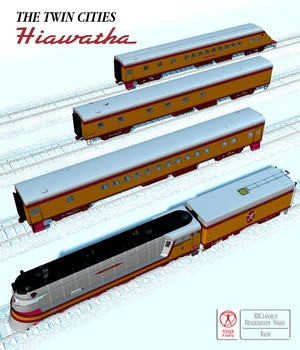 HIAWATHA TRAIN OBJ FBX - EXTENDED LICENSE 3D Game Models : OBJ : FBX 3D Models Extended Licenses 3DClassics