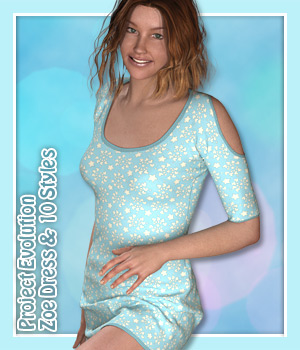 Zoe Dress and 10 Styles for PE - Poser 3D Figure Assets karanta