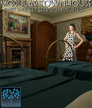 Modular Townhouse 7: Guest Bedroom and Nursery for Poser 3D Models BlueTreeStudio