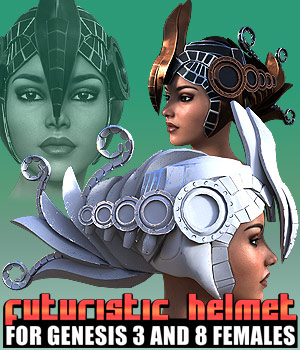 Futuristic Helmet for G3F & G8F 3D Figure Assets powerage