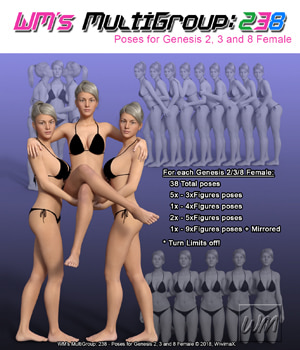 WM's MultiGroup: 238 - Poses for Genesis 2, 3 and 8 Female 3D Figure Assets WiwimaX