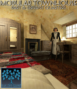 Modular Townhouse 8: Servant Quarters for Poser 3D Models BlueTreeStudio