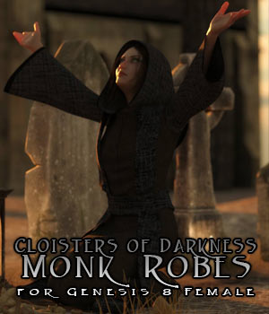 Cloisters of Darkness: Monk Robes for Genesis 8 Female 3D Figure Assets sixus1