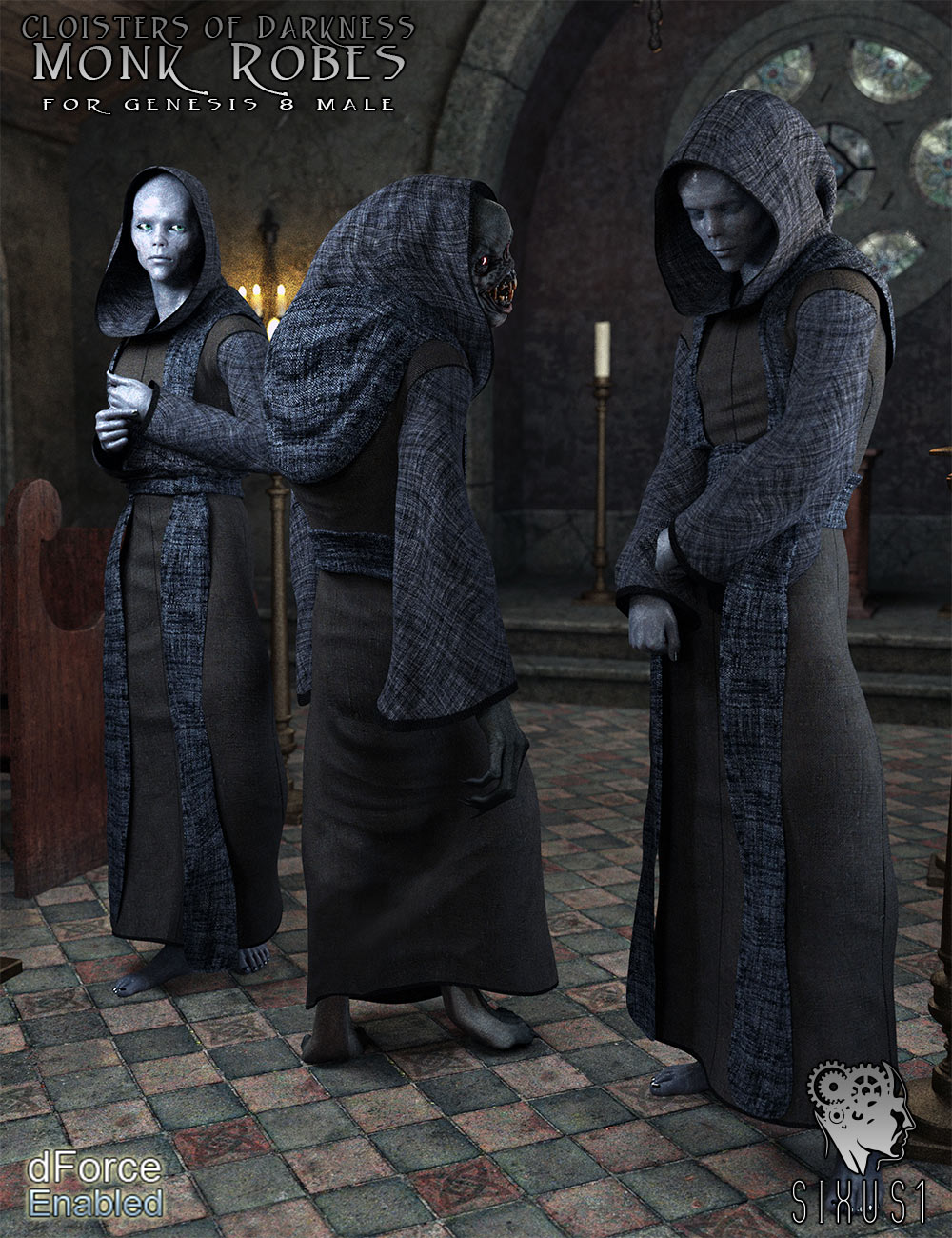 Cloisters of Darkness: Monk Robes for Genesis 8 Male