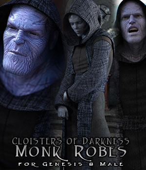 Cloisters of Darkness: Monk Robes for Genesis 8 Male 3D Figure Assets sixus1
