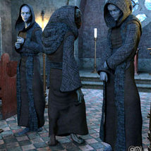 Cloisters of Darkness: Monk Robes for Genesis 8 Male image 1