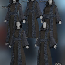 Cloisters of Darkness: Monk Robes for Genesis 8 Male image 4