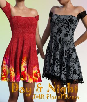 Day and Night for JMR Floral Dress by JaMaRe 3D Figure Assets chasmata