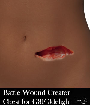 Battle Wound Creator Front Torso 3delight Version for G8F 3D Figure Assets biala