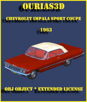 Chevrolet Impala Sport Coupe 1963 - Extended license 3D Game Models : OBJ : FBX 3D Models Extended Licenses Ourias3D