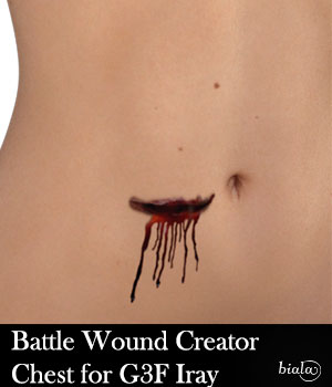 Battle Wound Creator Chest Iray Version for G3F 3D Figure Assets biala