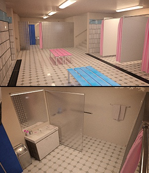 Unisex Shower & Locker with G3F & G3M Poses 3D Figure Assets 3D Models Xile3D