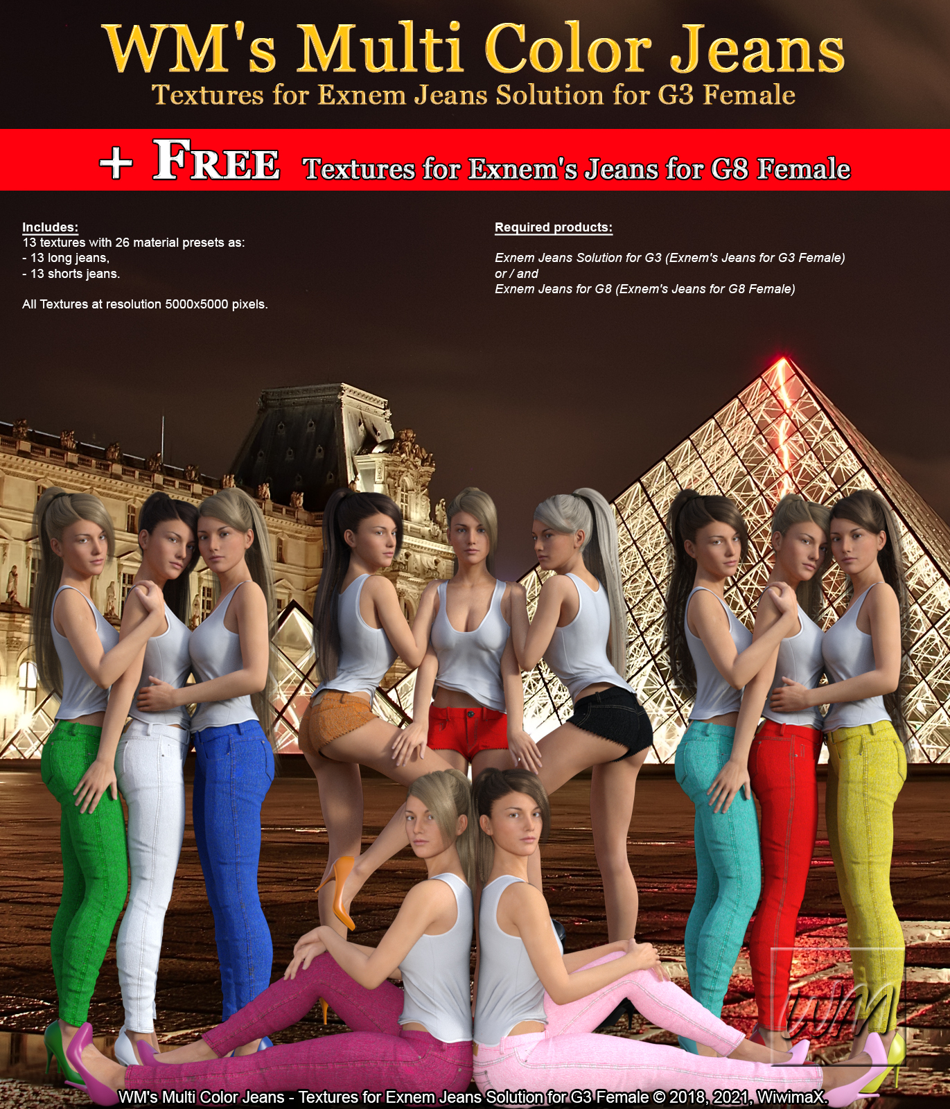 WM's Multi Color Jeans - Textures for Exnem Jeans Solution for G3 Female