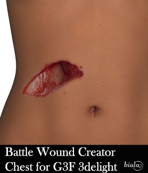 Battle Wound Creator Chest 3delight Version for G3F 3D Figure Assets biala