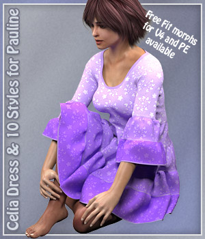 Pauline Celia Dress and 10 styles for Poser 3D Figure Assets karanta
