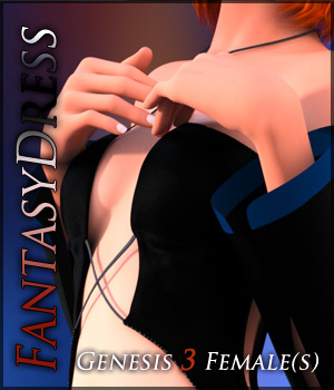 Fantasy Dress for Genesis 3 Females 3D Figure Assets Quanto