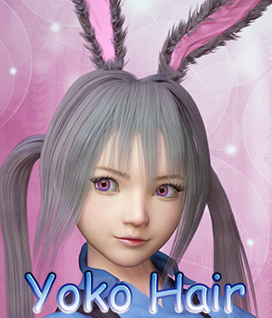 Fantasy Anime Haircut 4 _Yoko Hair_ for G3F G8F 3D Figure Assets muwawya