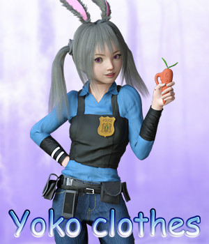Fantasy-Anime-Outfit 4 _ Yoko clothes_ for G3F G8F 3D Figure Assets muwawya
