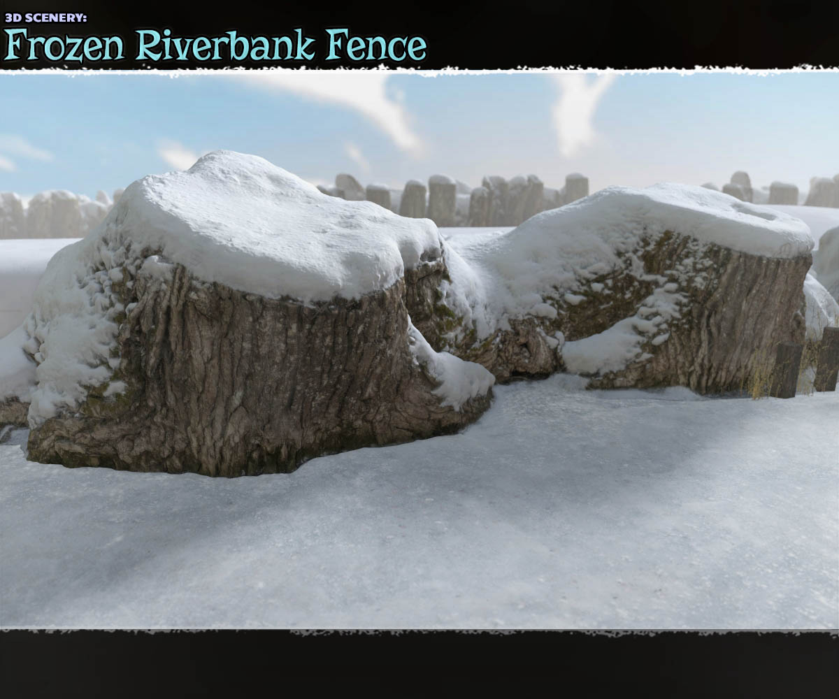3D Scenery: Frozen Riverbank Fence