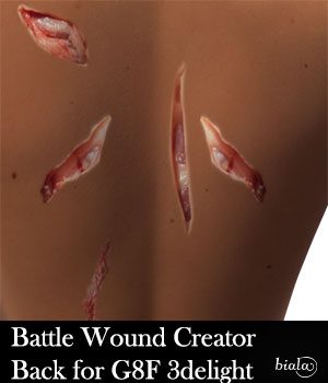 Battle Wound Creator Back Torso 3delight Version for G8F 3D Figure Assets biala