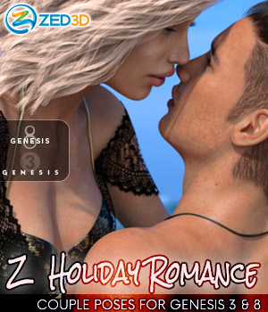 Z Holiday Romance - Couple Poses for Genesis 3 and 8  3D Figure Assets Zeddicuss