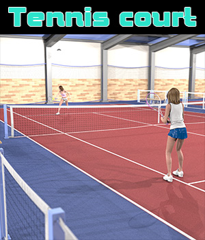 Indoor tennis court for Poser 3D Models 2nd_World