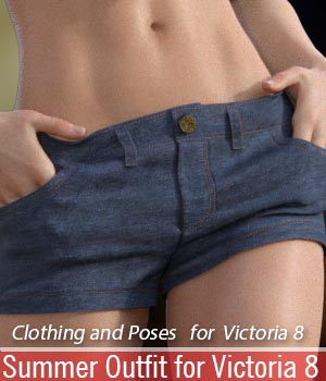 Summer Outfit for Victoria 8 3D Figure Assets halcyone