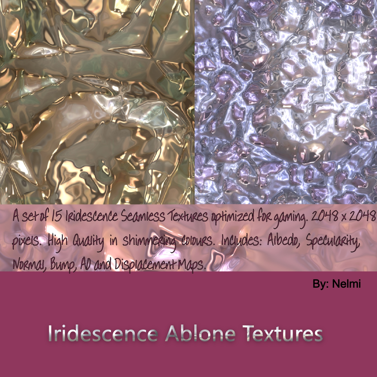Iridescence Abalone Seamless Textures with Texture Maps - MR by nelmi