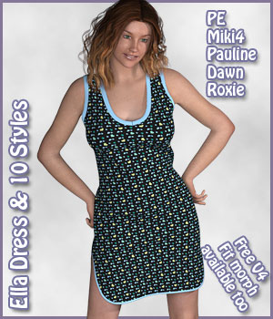 Ella Dress and 10 Styles for PE, Miki 4, Dawn, Pauline and Roxie 3D Figure Assets karanta
