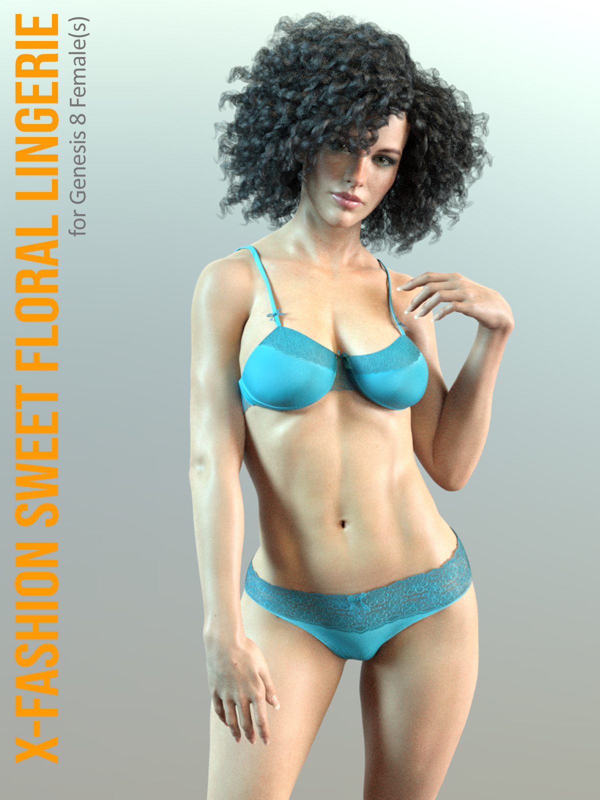 X-Fashion Sweet Floral Lingerie for Genesis 8 Female