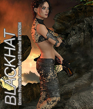 BLACKHAT - Exnem Protonic Armor for Genesis 3 Female 3D Figure Assets Anagord