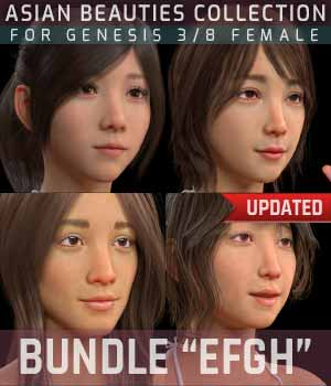 BUNDLE Asian Beauties Collection EFGH 3D Figure Assets gravureboxing