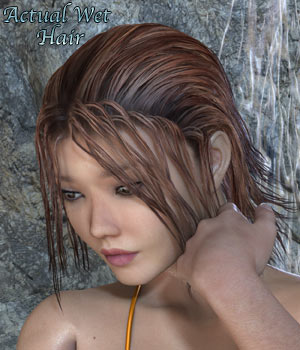 Actual Wet Hair for V4, M4 Poser 3D Figure Assets RPublishing