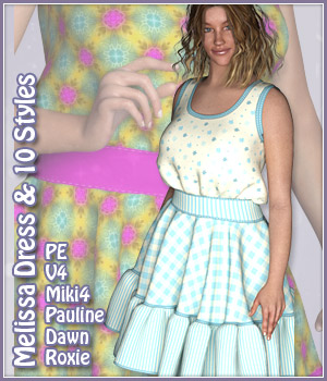 Melissa Dress and 10 Styles for PE, Miki 4, V4, Dawn, Pauline and Roxie 3D Figure Assets karanta