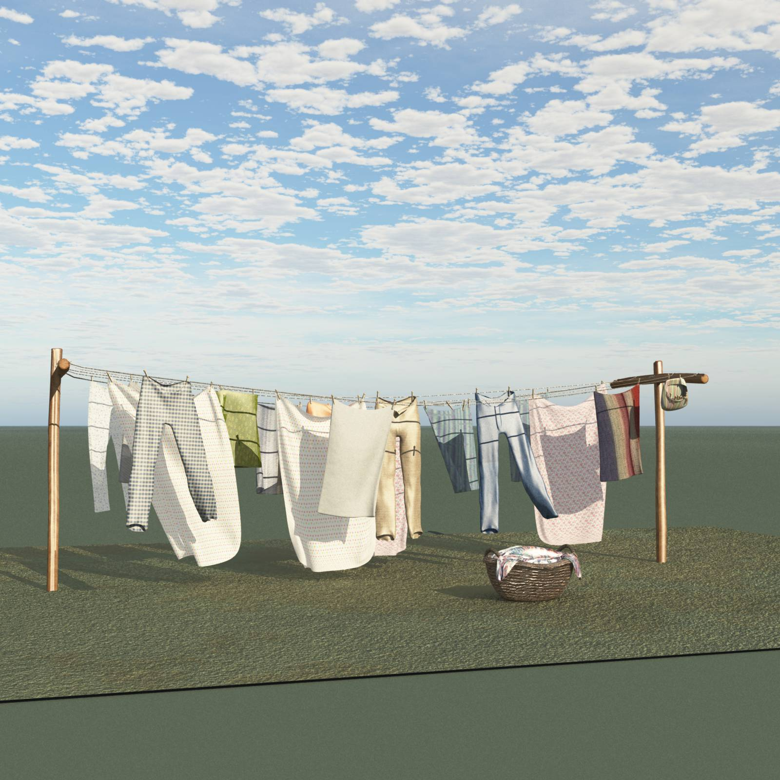 Old Windblown Clothesline For Vue