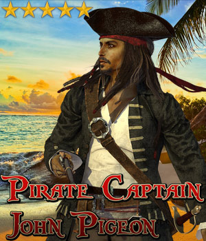 Pirate Captain John Pigeon 3D Figure Assets Cybertenko