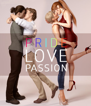 Pride, Love and Passion Poses for Genesis8 Female and Male 3D Figure Assets Val3dArt