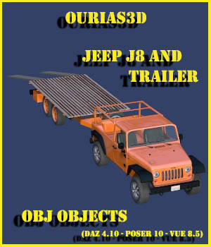 Jeep J8 and Trailer - Extended License 3D Game Models : OBJ : FBX 3D Models Extended Licenses Ourias3D