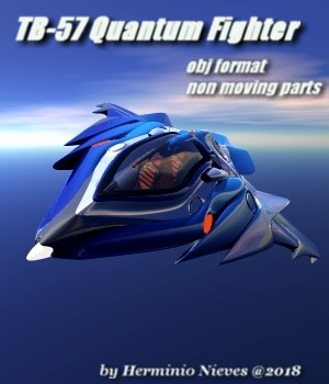 TB-57 Quantum Fighter - Extended License 3D Game Models : OBJ : FBX 3D Models Extended Licenses sevein