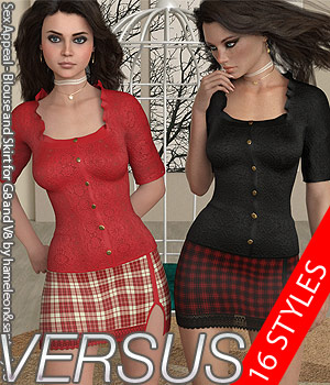 VERSUS - Sex Appeal - Blouse and Skirt for G8 and V8 3D Figure Assets Anagord